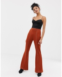 ASOS DESIGN Ponte Flare Trouser With Contrast Top Stitching