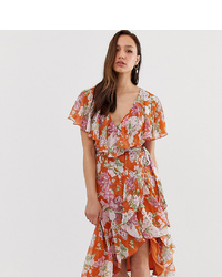 Asos Tall Asos Design Tall Midi Dress With Cape Back And Dipped Hem In Red Based Floral
