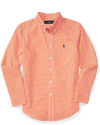 Orange Gingham Long Sleeve Shirt