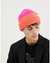 PS Paul Smith Block Stripe Wool Beanie In Orange
