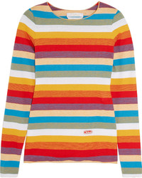 Chloé Striped Cotton Jersey Top Red