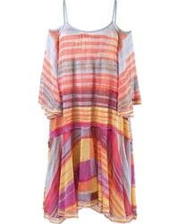 Orange Horizontal Striped Casual Dress
