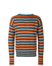 Orange Horizontal Striped Crew-neck Sweater