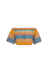 A Peace Treaty Striped Cotton And Silk Crop Top