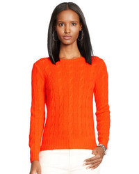 Orange Knit Cable Sweater