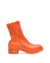 Orange Leather Ankle Boots