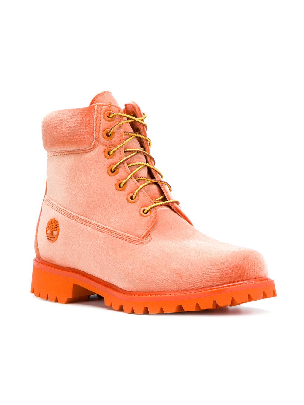 98d61685bec5 ... Off-White Velvet Timberland Boots ...