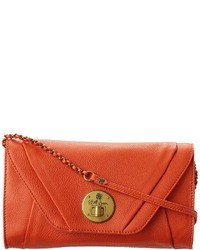 Orange Leather Clutch