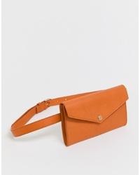 Other Stories Leather Envelope Belt Bag In Orange