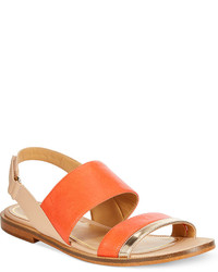 Orange Leather Flat Sandals