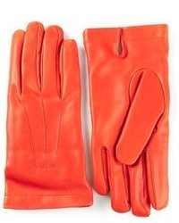 Orange Leather Gloves