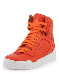 Orange Leather High Top Sneakers