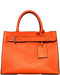 Rk40 medium belted leather tote bag orange medium 131624