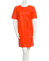 Orange Leather Shift Dress