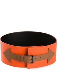 Orange Leather Waist Belt