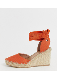 ASOS DESIGN Wide Fit Jaylen Espadrille Wedges In Coral