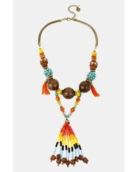 Betsey Johnson St Barts Beaded Frontal Necklace Orange Multi Gold