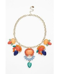 Cara Stone Cluster Bib Necklace Orange Blue Multi Gold