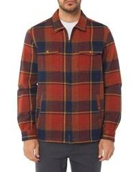 Orange Plaid Shirt Jacket
