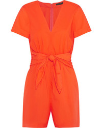 J.Crew Tessa Tie Front Cotton Poplin Playsuit Bright Orange