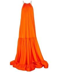 Stella McCartney Halterneck Ruched Panels Satin Maxi Dress