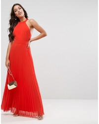 dfa0a95ad79 ... Asos Halter Neck Pleated Maxi Dress With Open Back ...