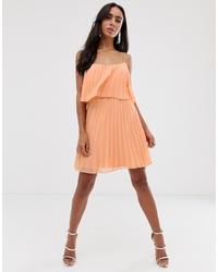 ASOS DESIGN Pleated Crop Top Mini Dress With Scoop Neck