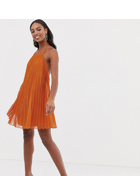 Asos Tall Asos Design Tall Mini Trapeze Pleat Dress