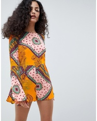 Orange Print Playsuit