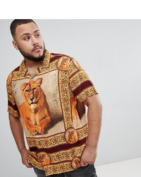 ASOS DESIGN Plus Oversized Tiger T Print Viscose Shirt With Revere Collar