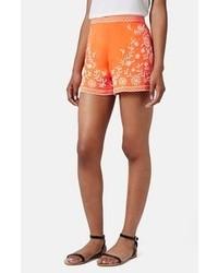 Orange Print Shorts