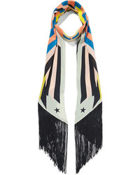 Givenchy Fringed Printed Silk Crepe De Chine Scarf Orange