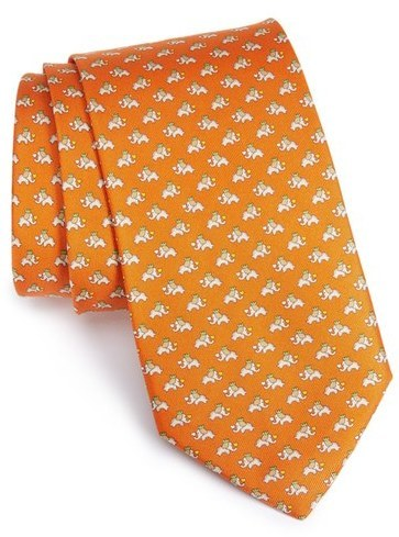 Salvatore Ferragamo Elephant Print Silk Tie