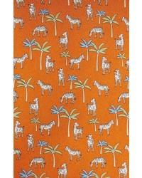 Salvatore Ferragamo Zebra Palm Tree Print Silk Tie
