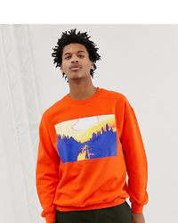 Reclaimed Vintage Inspired Photographic Landscape Sweatshirt In Orange