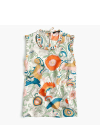 J.Crew Tall Ornate Floral Ruffle Trim Top In Silk