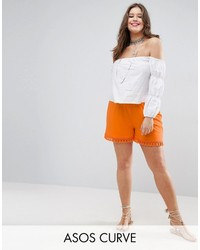 Asos Curve Curve Shorts With Tassle Hem