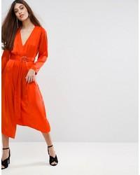 Orange Silk Midi Dress