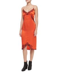 Orange Silk Sheath Dress