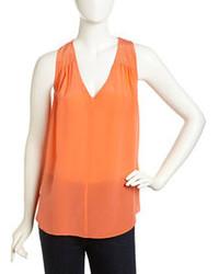 Orange Silk Sleeveless Top