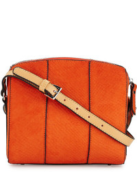 Orange Snake Leather Crossbody Bag