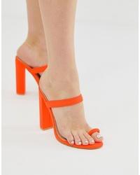 SIMMI Shoes Simmi Hailee Neon Orange Toe Loop Sandals