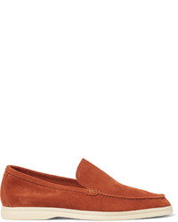 Orange Suede Loafers
