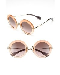 Miu Miu Round Retro Sunglasses Orange One Size