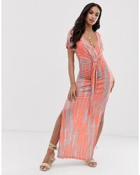 Orange Tie-Dye Maxi Dress