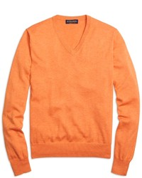 Orange V-neck Sweater