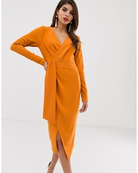 ASOS DESIGN Long Sleeve Wrap Midi Dress With Belt Detail