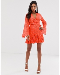 ASOS DESIGN Mini Skater Dress With Long Sleeve In All Over Scatter Sequin