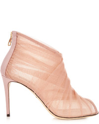 Dolce & Gabbana Pleated Tulle Open Toe Ankle Boots