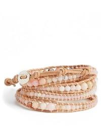 Graduated beaded leather wrap bracelet medium 270280